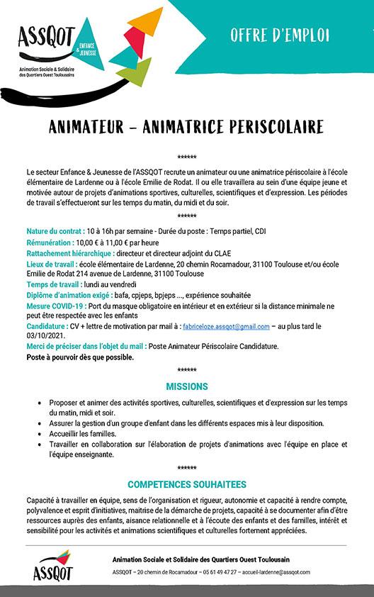 Offre d'emploi – Animateur périscolaire